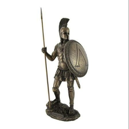 Bronzed Spartan Warrior with Spear and Hoplite Shield Statue - Spear Spartan