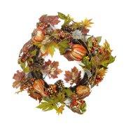 "22"" Harvest Pumpkin and Autumn Leaf Artificial Thanksgiving Wreath - Unlit"