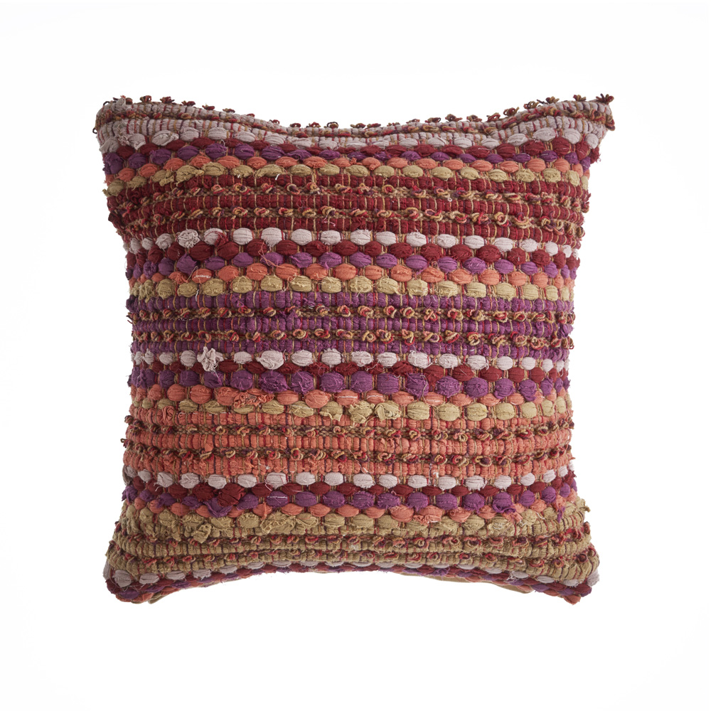 LR Home Sunny Color Red Multi Decorative Cotton Throw Pillow 18 inch