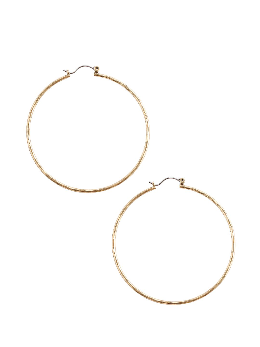 Goldtone Hammered Big Hoop Earrings