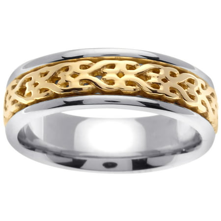 14K Two Tone Gold Infinity Knot Celtic Comfort Fit Women