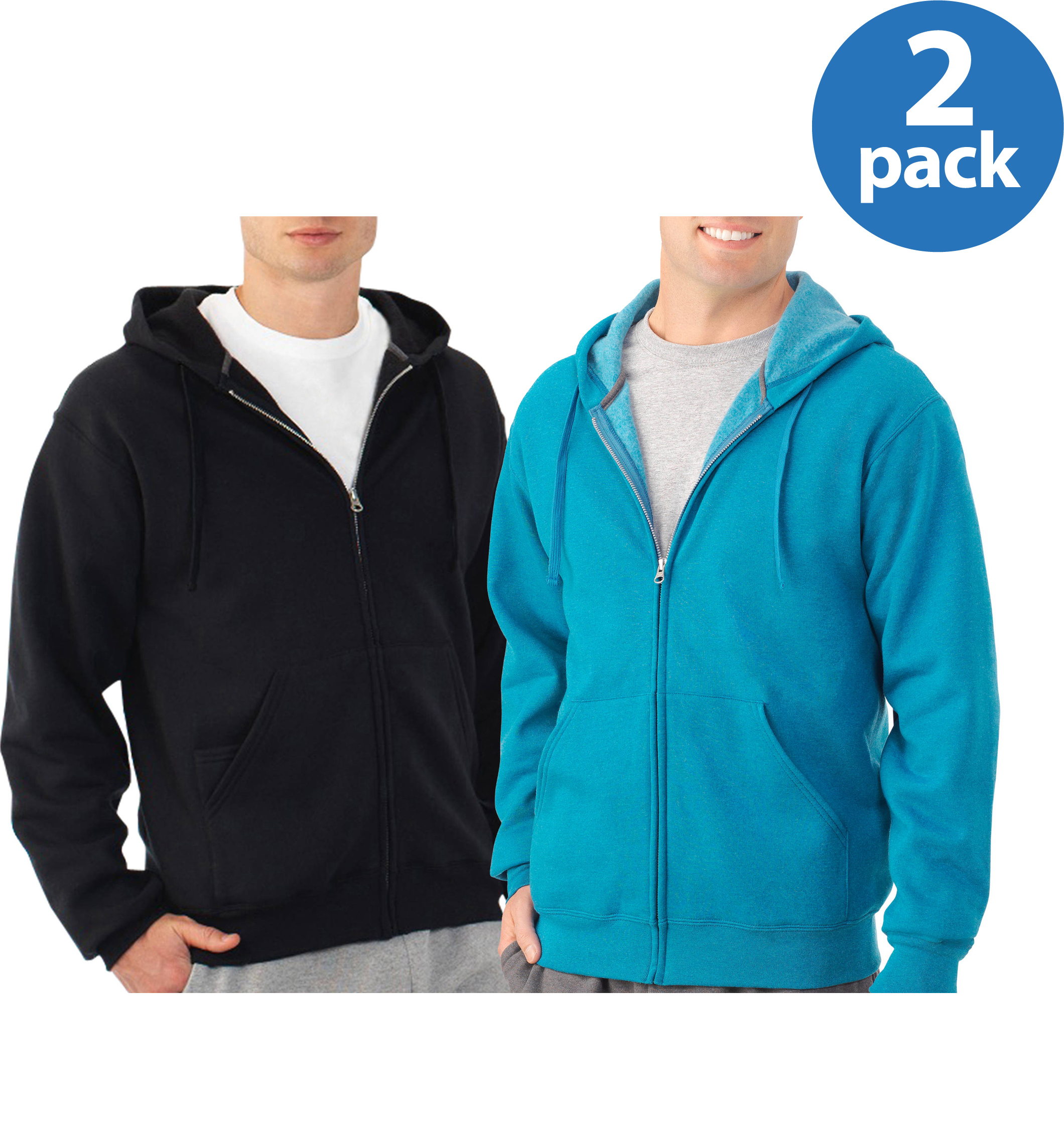 Fruit of the Loom Men's Fleece Full Zip Hoodie, Your Choice 2-Pack