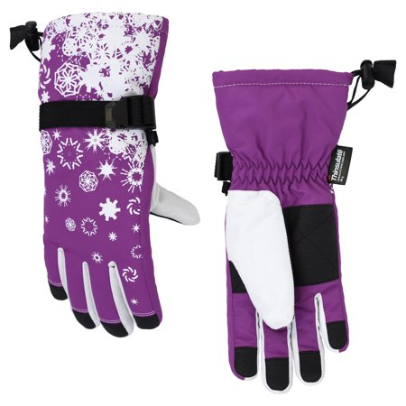 Girl's Cold Front Thinsuate Technical Snowflake Snowboard Gloves, Size 4-6x (Waterproof)
