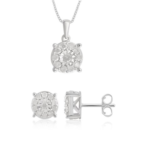 1.0 carat t.w diamond earrings and pendant 2pcs Silver Set (I-J/I3)