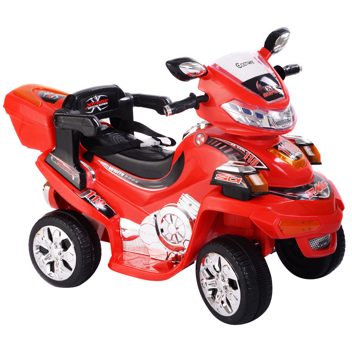 Costway 4 Wheel Kids Ride On Motorcycle 6V Battery Powered R/C Electric Toy Power Bicyle Red