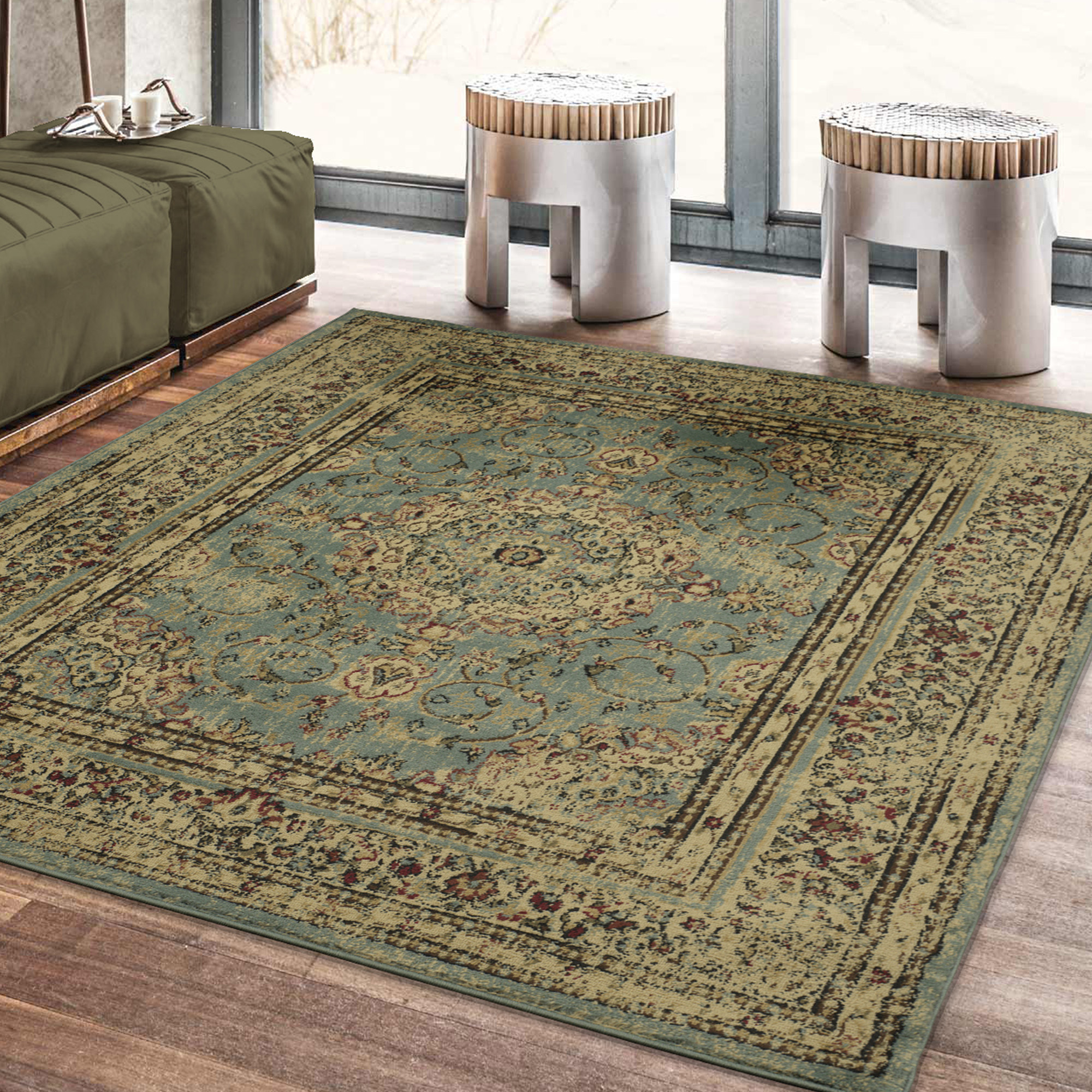 Ottomanson Royal Collection Distressed Medallion Design Area Rug