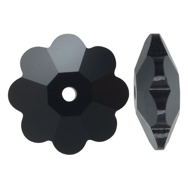 Swarovski Crystal, #3700 Flower Margarita Beads 8mm, 12 Pieces, Jet Black