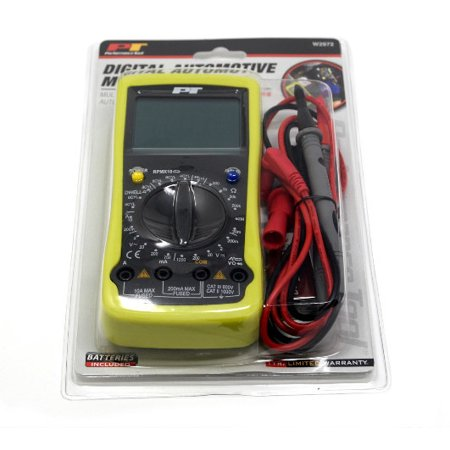 Performance Tool Digital Automotive Multimeter Tester UL Listed Leads and  Probes