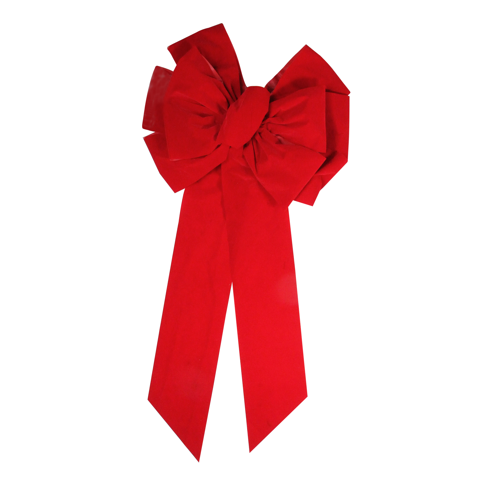 """24"""" x 45"""" Commercial Red Indoor Velveteen 10 Loop Christmas Holiday Bow"""
