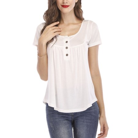 Women Casual T-shirts Button Loose Tops T-shirts Blouse 2 Button T-shirt