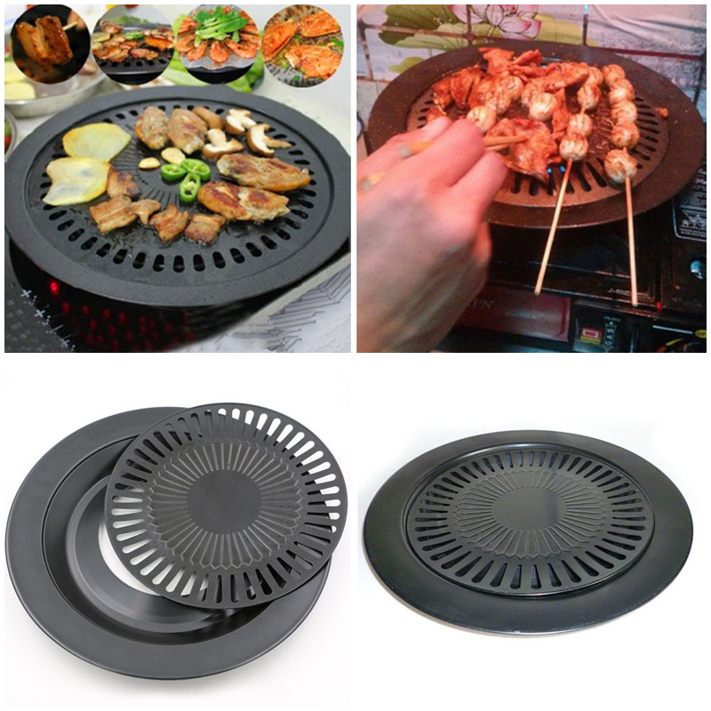 Grill Pans for Stove Top, Outgeek 12.60'' Smokeless Non Stick Stovetop Roaster Grill Pan Grilling Tools BBQ Accessories for Barbecue Party Outdoor
