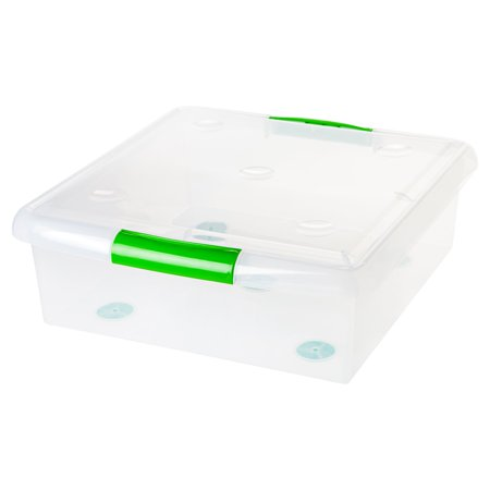 IRIS 61 Quart Store and Slide Plastic Storage Box with Green Handle, Clear - Large Underbed Storage