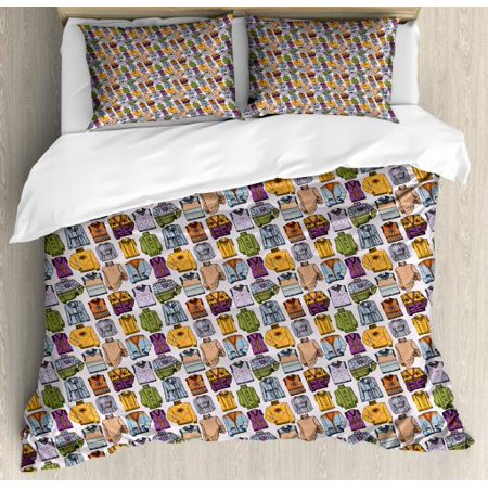 Hipster Queen Size Duvet Cover Set, Winter Season Trend Warm Wool Clothes Sweaters Feminine Fashion Theme Illustration, Decorative 3 Piece Bedding Set with 2 Pillow Shams, Multicolor, by