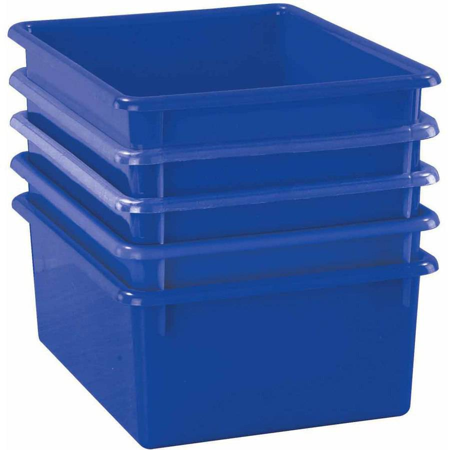 "School Smart Deep Flat Storage Tray, 13"" x 10.5"" x 5"", Multiple Colors"
