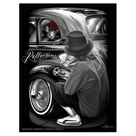 Reflections Lowrider Gangster Cholo Poster 18 x 24 By David Gonzales Art DGA, 18x24 inch High Gloss Poster By DGA David Gonzales Art Ship from US (Gonzales Store)