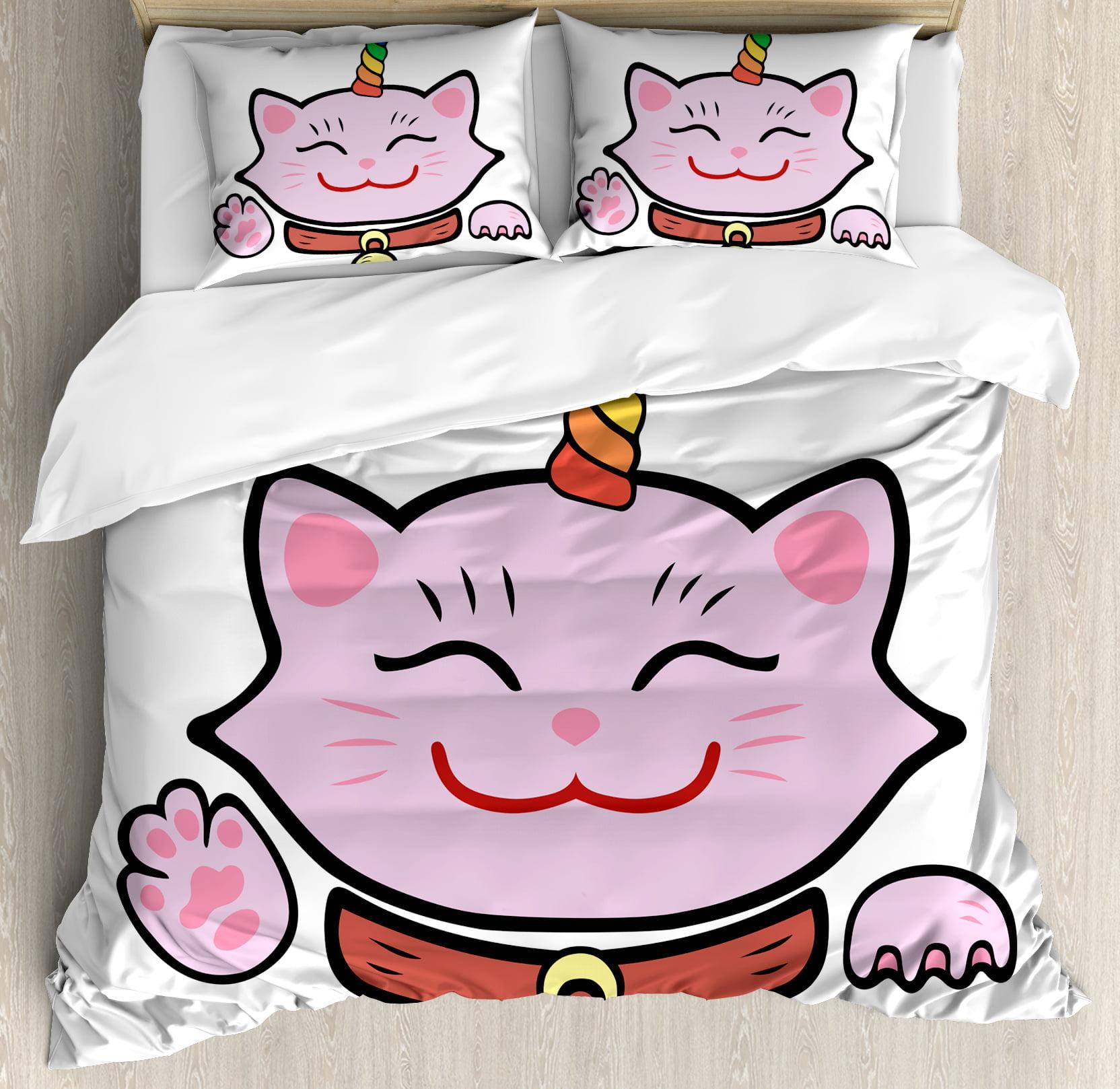 Unicorn Cat King Size Duvet Cover Set, Pink Maneki Neko S...