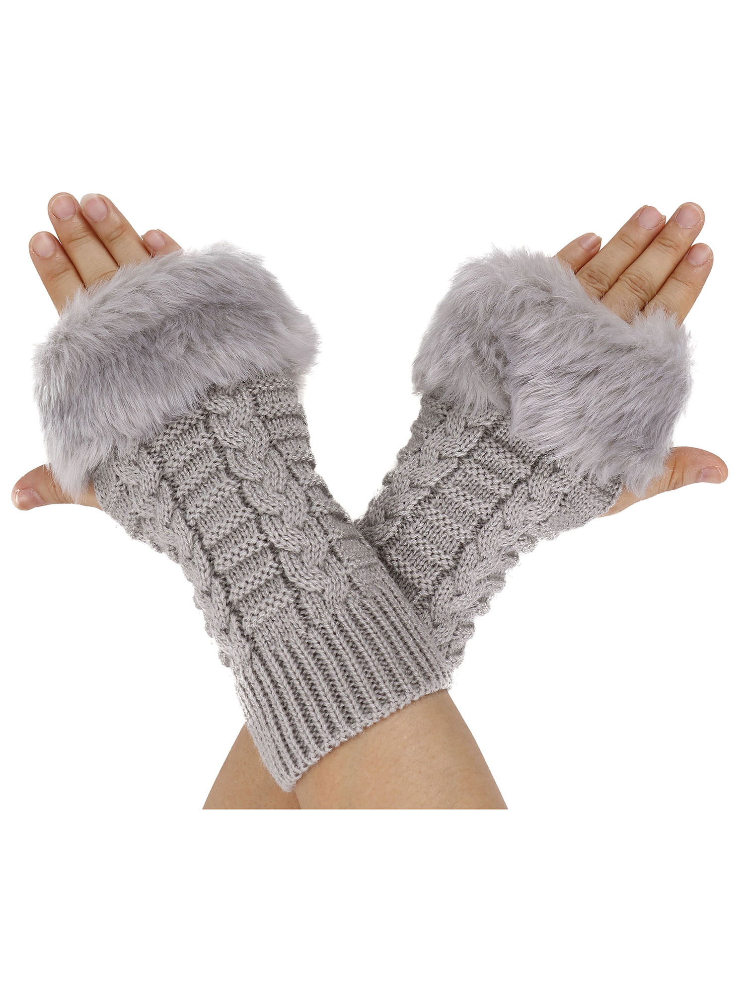 Women/'s Mittens Gloves with Faux Fur Warm Winter Fall Cute Knitted