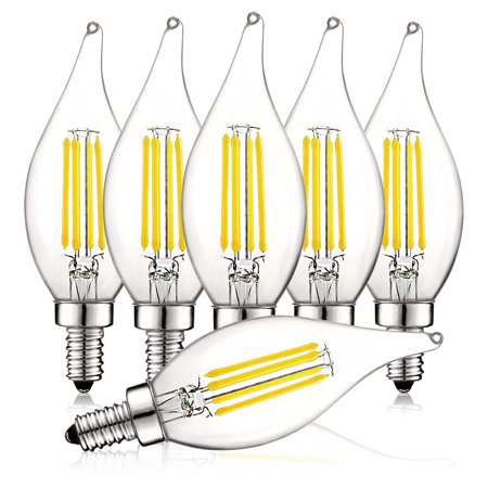 Luxrite 4W Vintage Candelabra LED Bulbs Dimmable, 450 Lumens, 5000K Bright White, E12 LED Bulb 40W Equivalent, Flame Tip Clear Glass, Edison Filament LED Candle Bulb, UL Listed (6 Pack)