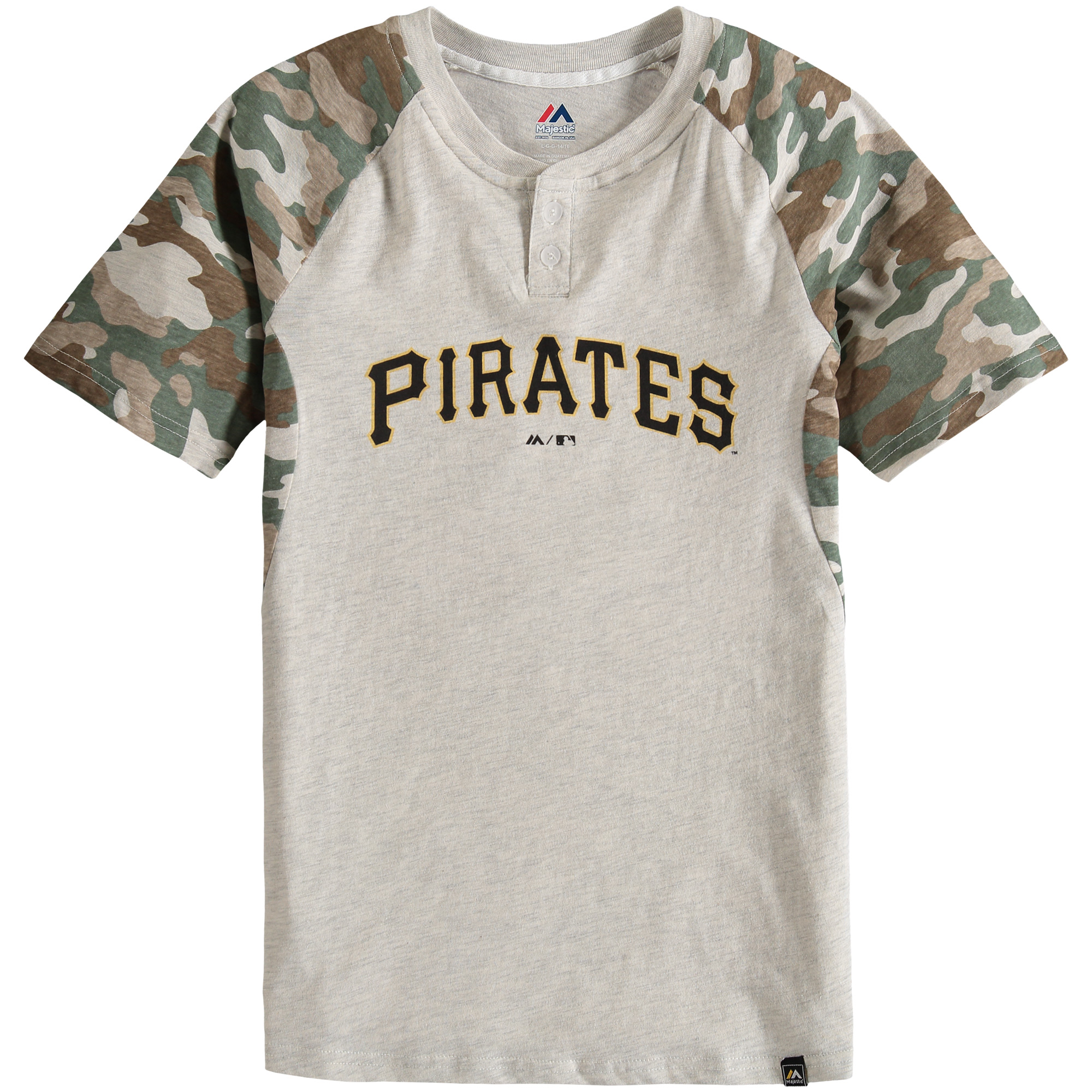 Pittsburgh Pirates Majestic Youth Base Stealer Henley T-Shirt - Cream/Camo