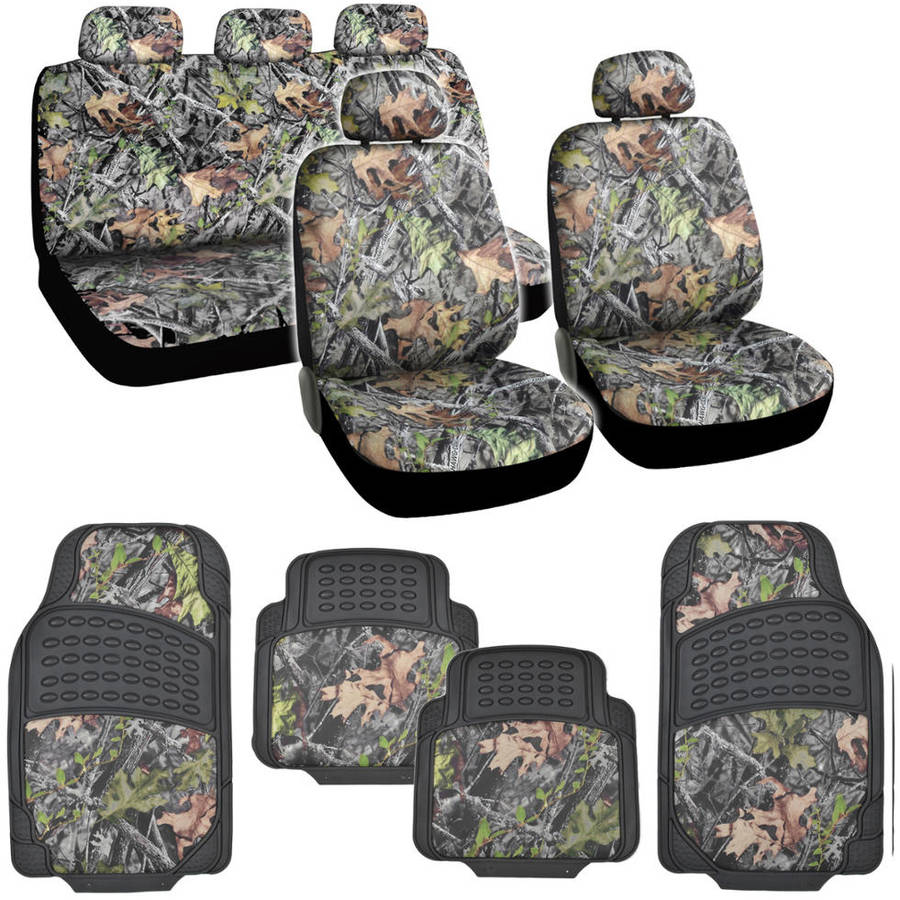 BDK Hawg Camouflage Seat Covers and Floor Mats for Car and SUV, Heavy Duty Rubber, Trimmable
