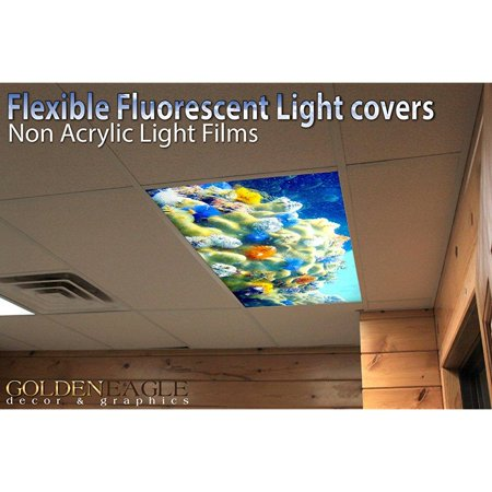 coral reef - 2ft x 4ft drop ceiling fluorescent decorative ceiling light cover skylight film ()