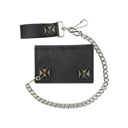 Ic328 Iscar Inserts (Genuine Leather Men's Tri-Fold Biker Chain Wallet w/ Iron Cross Snaps IC328 )