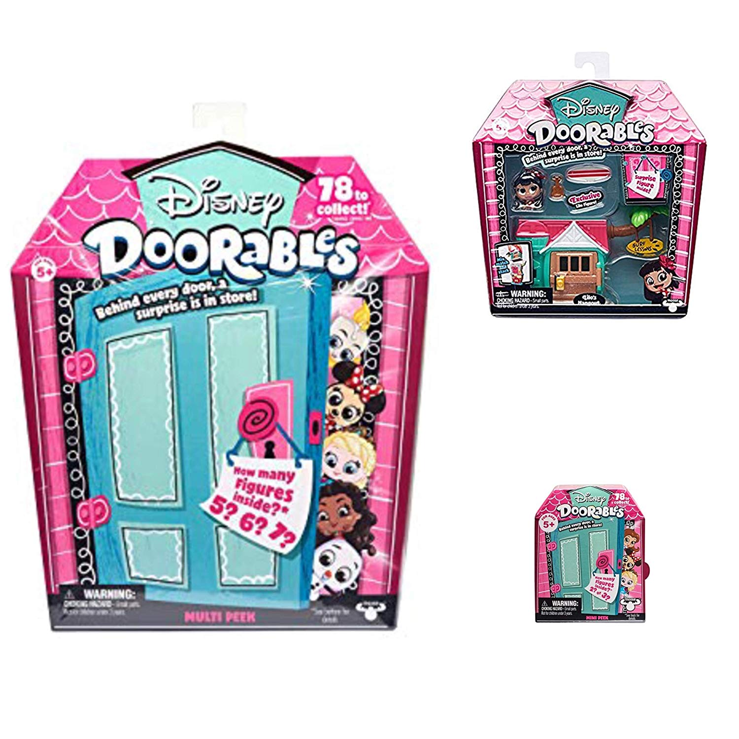 Disney Doorables Mini Stack Playset Lilo's Hangout, Multi Peek and Mini Peek Mystery Bundle