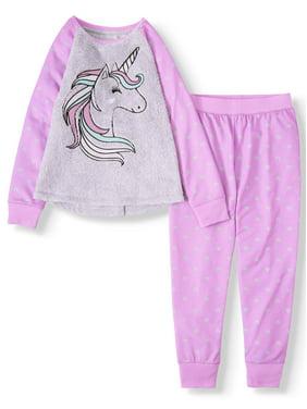 Wonder Naton Girl's Critter Fuzzy Top and Sleep Jogger, 2-Piece Pajama Set (Little Girls, Big Girls & Plus)