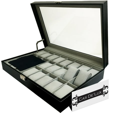 Watch Organizer - Luxury Watch Box 24 Velvet Pillow Slots, Premium Display Case With Framed Glass Lid, Elegant Contrast Stitching, Sturdy & Secure Lock - By Cas De` Lux