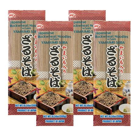 JFC Japanese Buckwheat Noodles With Yam Yamaimo Soba, 10.58 oz (4 Packs) (Soba Noodles)