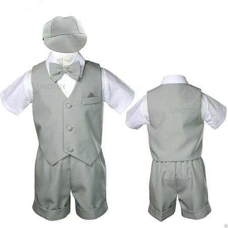 Silver Baby Infant Boy Toddler Formal Eton Suit Vest Set Shorts S M L XL 2T - 4T - Toddler Sizes 2t