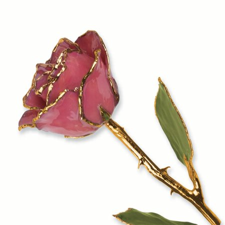 Dusky Orchid (Lacquer Dipped Gold Trim Dusty Pink Rose Figurine Orchid Leaf K Trimmed Keepsake Floral Home Decor Flower Gifts For Women For Her)