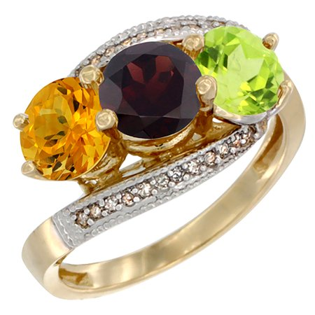 14K Yellow Gold Natural Citrine, Garnet & Peridot 3 stone Ring Round 6mm Diamond Accent, sizes 5 - 10 14k Gold Natural Garnet Ring