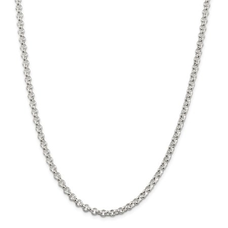 Solid 925 Sterling Silver 4.75mm Half Round Rolo Chain Necklace 16
