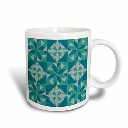 3dRose Turquoise Quilt Pattern, Ceramic Mug, 11-ounce