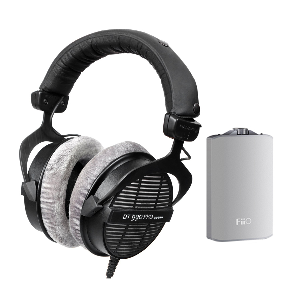 BeyerDynamic DT990 Professional Acoustically Open Headphones 250 Ohms with FiiO A3 Amplifier