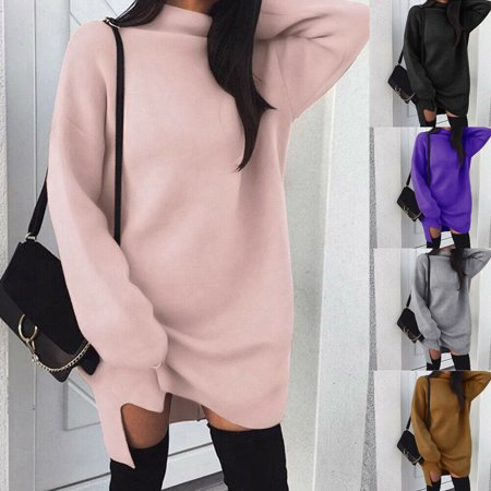 Women Lady High Collar Dress Long Sleeve Jumper Sweater Knitwear Pullover Dress