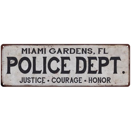 MIAMI GARDENS, FL POLICE DEPT. Home Decor Metal Sign Gift 6x18 106180012236](Miami Gardens Fl)
