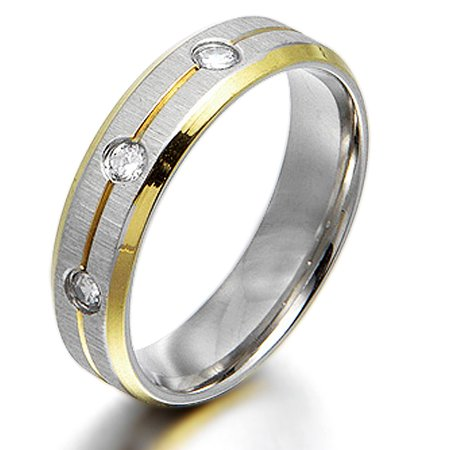 Gemini Groom or Bride 18K Gold Filled CZ Diamonds Promise Wedding Titanium Ring width 4mm US Size 7.75 Valentine's Day (Wedding Gift For Bride From Groom Jewelry)