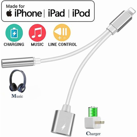 Black Friday Clearance!!! Headphones Adapter/Splitter, 2 in 1 Cables Charge & Aux Audio 3.5mm Jack Adapter Dongle Earphone Connector for iPhone Xs/Xs Max/XR/X(10)8/8 Plus/7 Support iOS Latest system