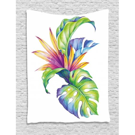 Plant Tapestry, Tropical Leaves and Monstera with Abstract Color Scheme Hawaiian Floral Elements, Wall Hanging for Bedroom Living Room Dorm Decor, Multicolor, by Ambesonne
