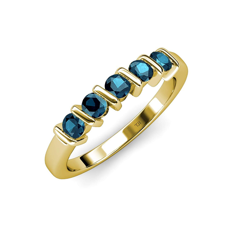 Blue Diamond 5 Stone Bar Set Wedding Band 0.75 ct tw in 14K Yellow Gold by TriJewels