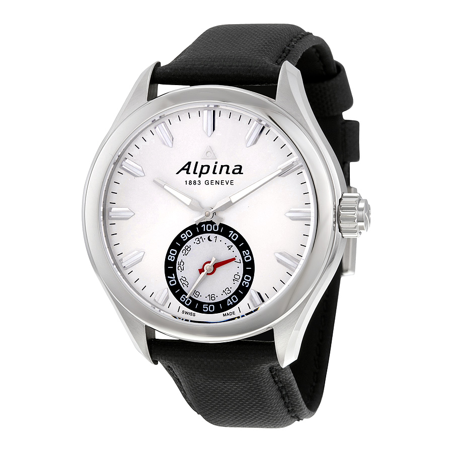 Alpina Horological Smartwatch Silver Sunray Black Leather Mens Watch AL-285S5AQ6