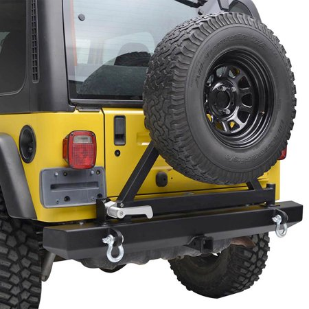 Jeep Bumper Tire Carrier - GZYF Jeep Rear Bumper with Tire Carrier & Hitch Receiver & 2 D-Rings for 87-06 Jeep Wrangler TJ YJ