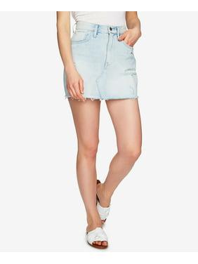 1.STATE  - Cotton Ripped Denim Mini Skirt - Regular - 2
