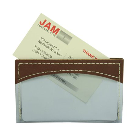 jam paper plastic business card holders brown leather trim sold individually - Plastic Business Card Holders