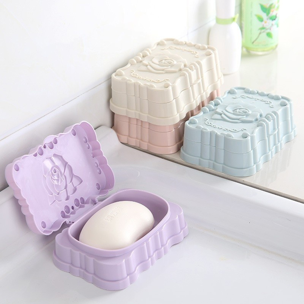 Moderna Modern Plastic Rose Bathroom Soap Storage Dish Drain Rack Holder Container Case