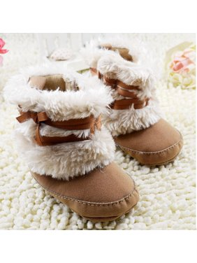 Toddler Girls Baby Shoes Winter Warm Booties Soft Sole Crib Snow Boots Shoes 0-18M
