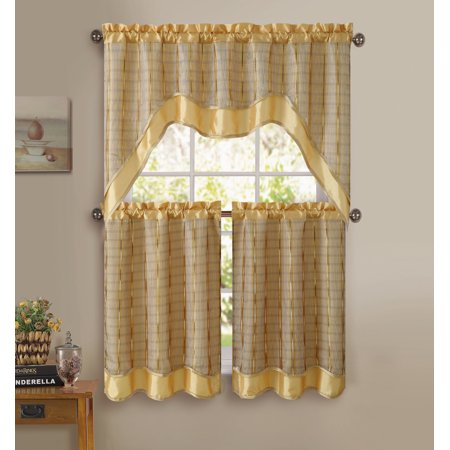 Gold 3-Pc Kitchen Window Curtain Set: Double-Layer, 2 Tiers, 1 Valance ()