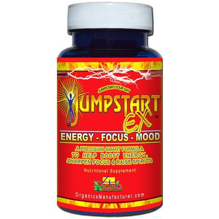 4 Organics JumpstartX60 Energy & Mood 60 capsules Stimulant Bottle-